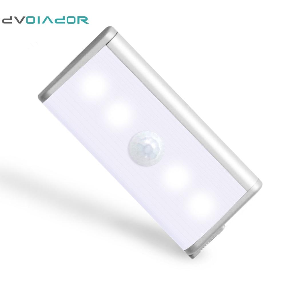 DVOLADOR  4 LED night light Wireless Infrared Motion Sensor Closet Light Battery Lamp White/Warm White led Cabinet Light