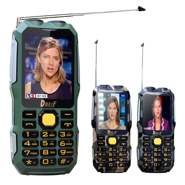 DBEIF D2016 Dual flashlight FM magic voice change 13800mAh mp3 mp4 power bank Antenn Analog TV Rugged mobile phone cell P242