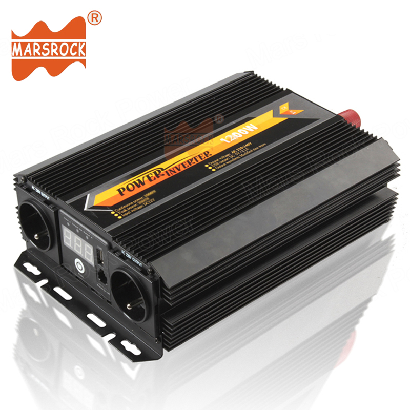 1200W Car Home Use Modified Sine Wave Off Grid Solar Power Inverter 12V 24V 220V AC with LED display Remote control switch USB