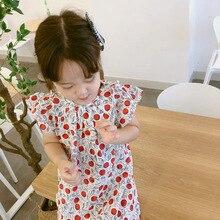 8edf6be23 Ins caliente diseño de verano de las muchachas del bebé precioso vestido de  algodón suave ropa de punto rojo vestido de niños ve.