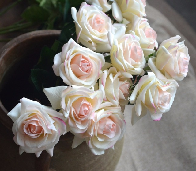 10stems Light Blush Real Touch Rose Buds For Wedding Centerpieces Silk Bridal Bouquets Artificial Flowers