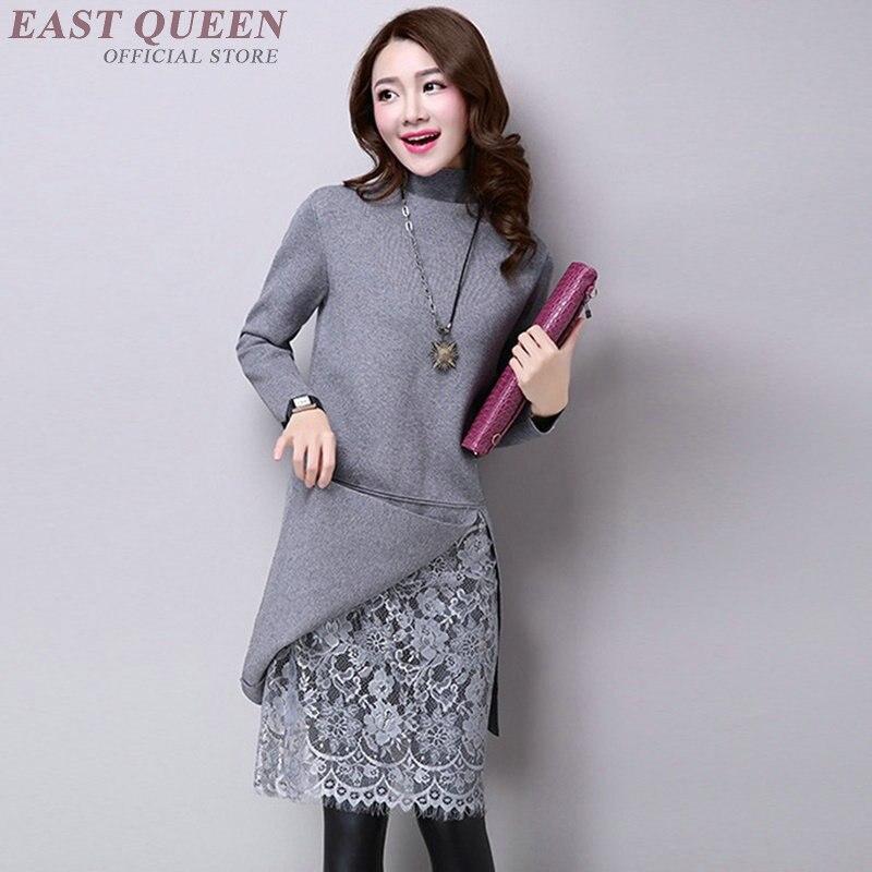 Femmes pull robes offre spéciale automne dentelle droite robe pleine manches genou-longueur col roulé moulante pulls DD397 F
