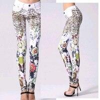 Good Quality Elastic Printing jeans woman Pencil pants Girl White Jeans Leopard Pants Female Skinny Long women Slim Capris