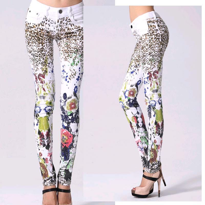 Good Quality Elastic Printing   jeans   woman Pencil pants Girl White   Jeans   Leopard Pants Female Skinny Long women Slim Capris