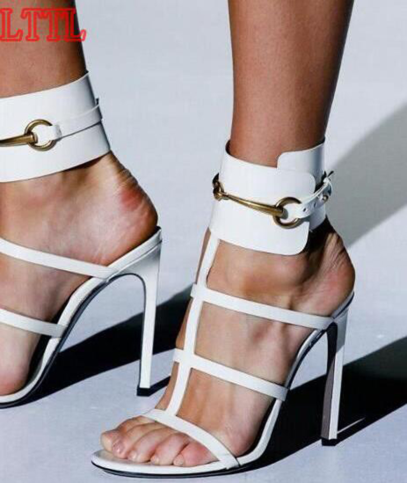ФОТО Buckle Design Ankle Strap Open Toe High Heel Sandals Cut-out Six Candy Colors Gladiator Sandals Formal Dress Shoes Real Photos