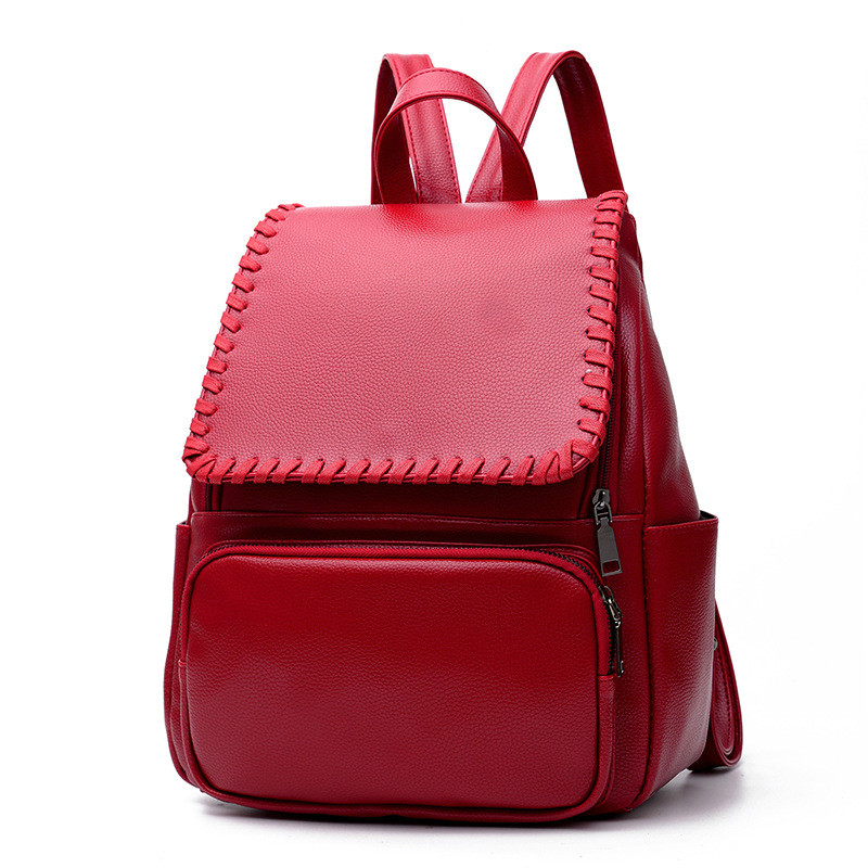 2017 Newest Design Female Bags Concise Leisure Fashion Girls Occident Style Backpacks Solid Color Wine Red