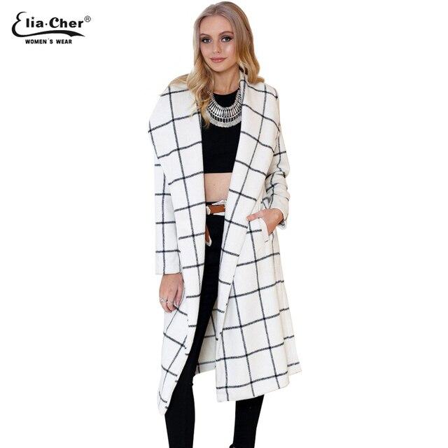 694a955418e Женщины зимние пальто 2016 Eliacher бренд шикарный элегантный длинные  женщины шерсти мода открыть стежка смеси Большой