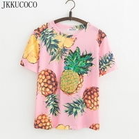 JKKUCOCO Top Hot Sequined Print Pineapple Women T Shirt Short Sleeve O Neck Summer Tee Casual