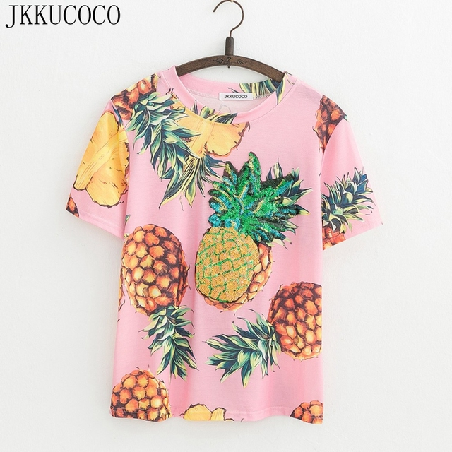 22181093 JKKUCOCO Top Hot Sequined Print Pineapple Women t shirt Short Sleeve O-neck  Summer tee