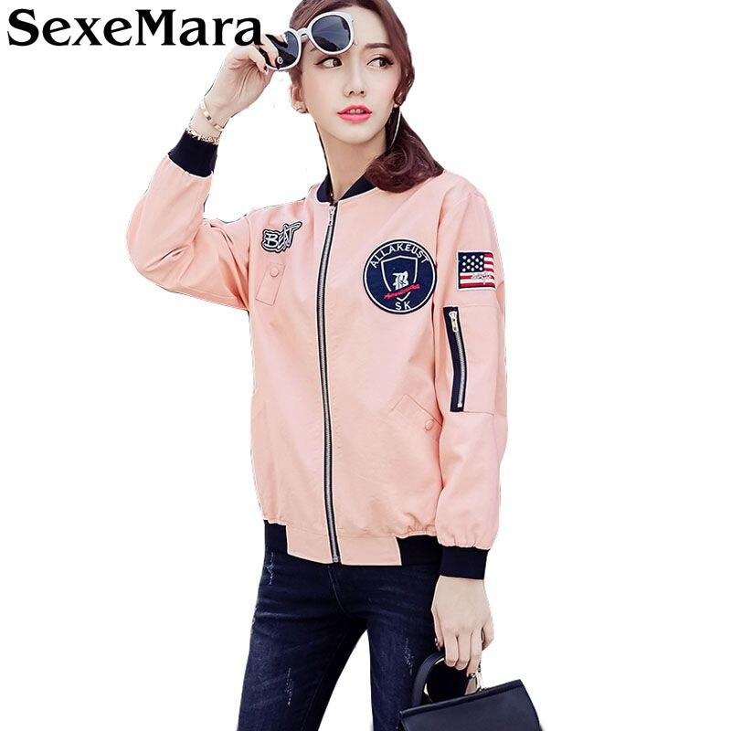 Court Printemps 2017 Brodé Sexemara pink Gq0155 De Vert Mode Base Automne Manteaux Bomber Armée Army Veste Femmes black Green Manteau white v0OPqvx
