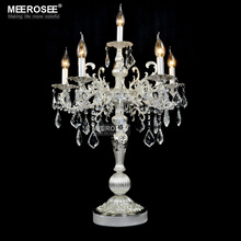 Vintage Silver color Table light Luxurious Clear crystal desk lamp with Wedding Candelabra for Hotel Restaurant Bedroom lighting