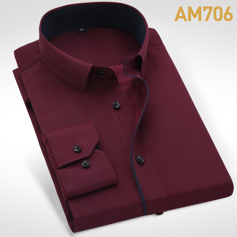 unisplendor Men Dress Shirts 2020 New Man Fashion Long Sleeve Slim Fit High Quality Solid Casual Business Man's Shirt 4XL YN630 6