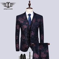 Plyesxale Men Printed Floral Suits 3 Pieces Flower Patterned Tuxedo Jacket Burgundy Navy Blue Stage Wedding Suit Men 6XL Q488