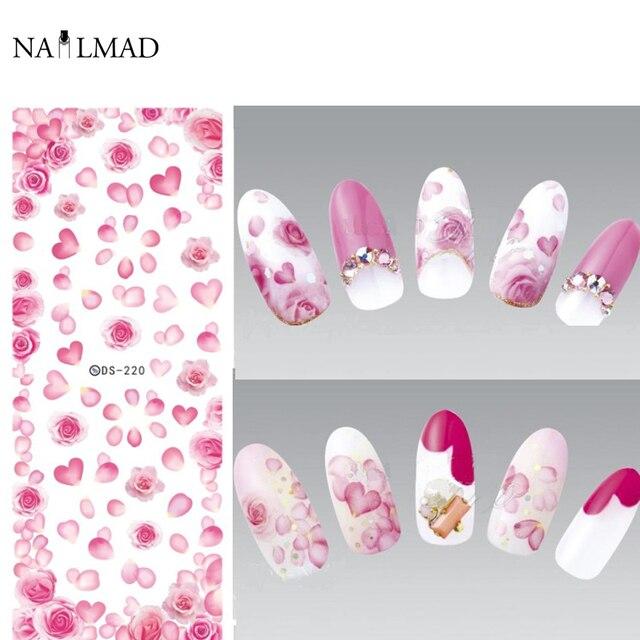 1 blatt NailMAD Fantastische Rosa Farbe Nagel Wasser Abziehbilder ...