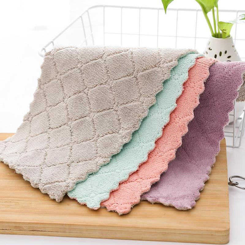 1/2/5pcs Super Absorbent Microfiber Kitchen Towel Dish Cloth High Efficiency Tableware Household Cleaning Towel Kichen Tools