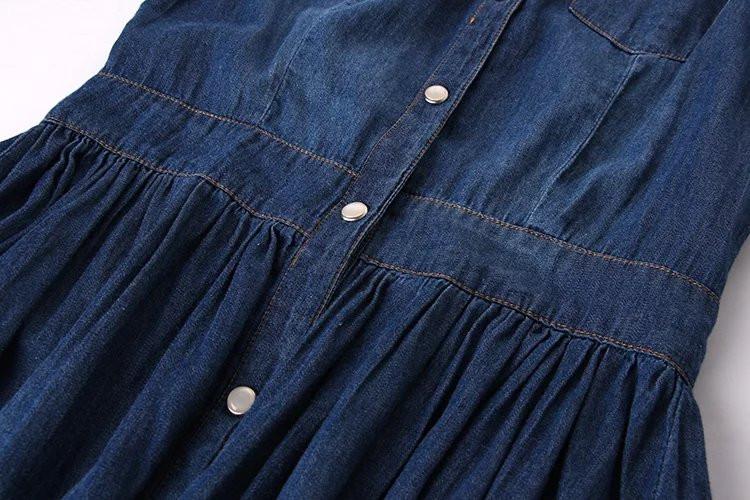 Three Quarter Sleeve One-piece Denim Dress