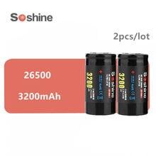 Soshine – lot de 2 Batteries Li-ion 3.7V 3200mAh 26500, rechargeables, originales, offre spéciale