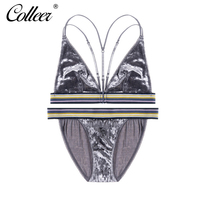COLLEER New Wirefree Velvet Bra Sets Beauty Back Cotton Bra Deep V Sexy Suede Front Closure