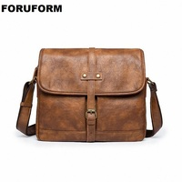 2018 Mens High Grade PU Leather Vintage Shoulder Bag Crossbody Bag Handbag Casual Messenger Bag Male