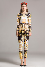 2017 Autumn Baroque print shirt pencil pant two piece set Fashion retro print women s suit