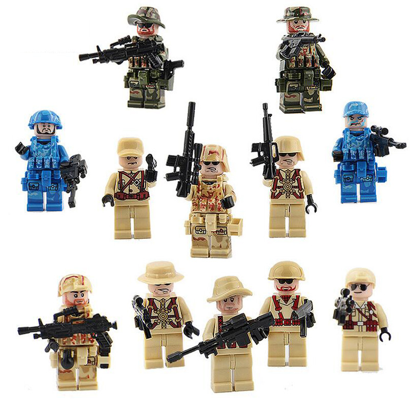 12pcs SWAT Eagle World War Military Soldier Platoon Leader Commander Building Blocks Brick Toy Compatible with LegoINGly Weapon xinlexin 317p 4in1 military boys blocks soldier war weapon cannon dog bricks building blocks sets swat classic toys for children