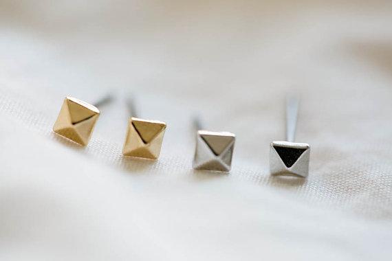 Jisensp Earrings 2018 bijoux Cute Earrings Set Square Pyramid Stud Earrings for Women Geometric Earings Best Friend Gifts E009
