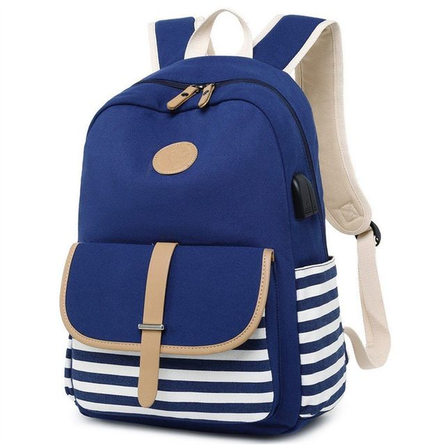 Tourya Fashion Canvas Women Backpack USB Charging Earphone Hole Large Capacity School Bags Laptop Travel Bagpack for Girls