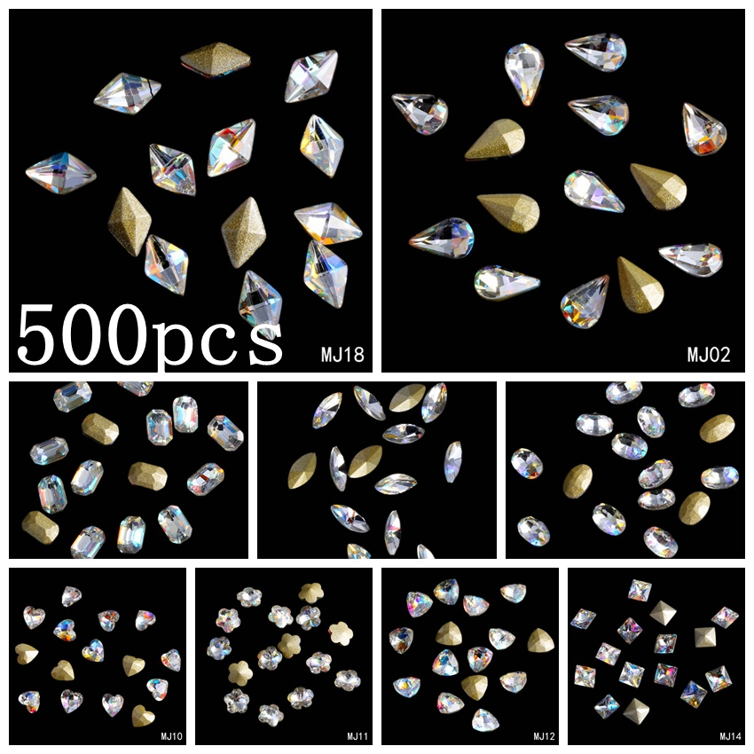 500pcs Clear AB DIY Nails Pointback Nail Stickers Crystal Craft Art Charm Gems Big Pack Wholesale Shiny Stones happyxuan 12pcs lot crystal glitter eva mosaic stickers puzzle kindergarten diy art craft material kit educational toys series q