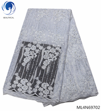 BEAUTIFICAL white african fabric lace stones tulle laces mesh high quality fabrics lates ML4N697