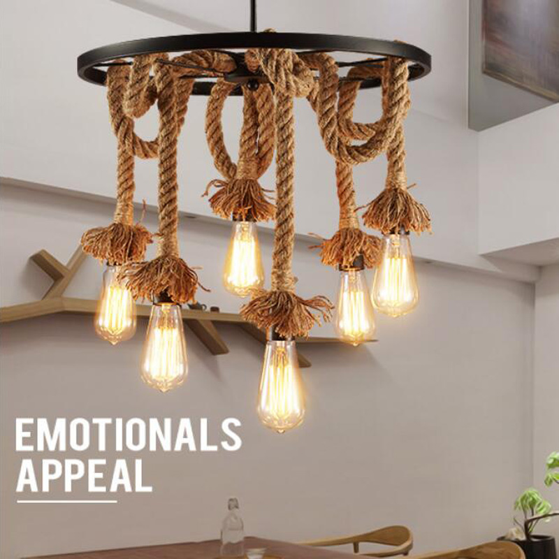 American retro wrought iron hemp rope pendant lights round Wheel iron ceiling lamp E27 with Edison Bulbs for Cafe restaurant bar vintage edison chandelier rusty lampshade american industrial retro iron pendant lights cafe bar clothing store ceiling lamp