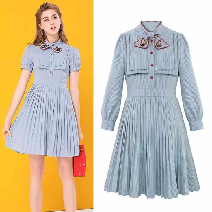 c120f4e570 Summer Autumn Dresses Women 2018 Blue Brief Stripped Bows Collar Embroidery  Dresses Pleated Designer Ladies Dress