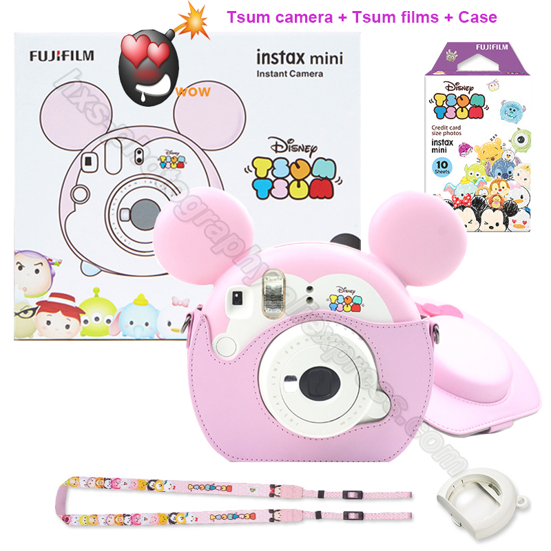 Fujifilm Instax Mini Instant Camera Tsum Tsum Gift Set with 10 Sheets Cartoon Photo Papers,Present for Wedding Birthday Festival