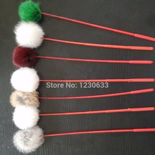 Clearance Price Premium Cat Colorful With Rabbit Fur Ball Favorite Funny Cat Stick Toy Many Colors of Pet Toys