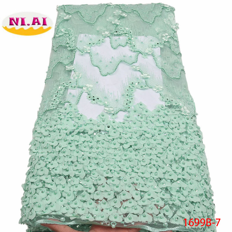 Latest Style High Quality French Beaded Lace Fabric 2018 Fashion African Lace Fabric Tulle Nigerian Lace Fabrics XY1699B 9