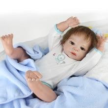 Lifelike Bath boy Doll Full Body Silicone Reborn Baby Mohair with clothes set,23-Inch