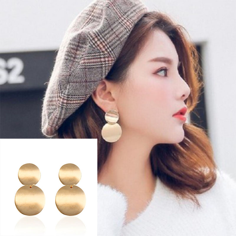 Metal Geometric Drop Earrings Trendy Gold Color Round Statement Earrings for Women 2019 New Fashion Jewelry Gift Wholesale WD132 in Drop Earrings from Jewelry Accessories