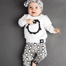 Комплекты одежды для новорожденных г., модная футболка с длинными рукавами с изображением пингвина+ штаны+ повязка на голову, комплекты одежды из 3 предметов для маленьких мальчиков и девочек