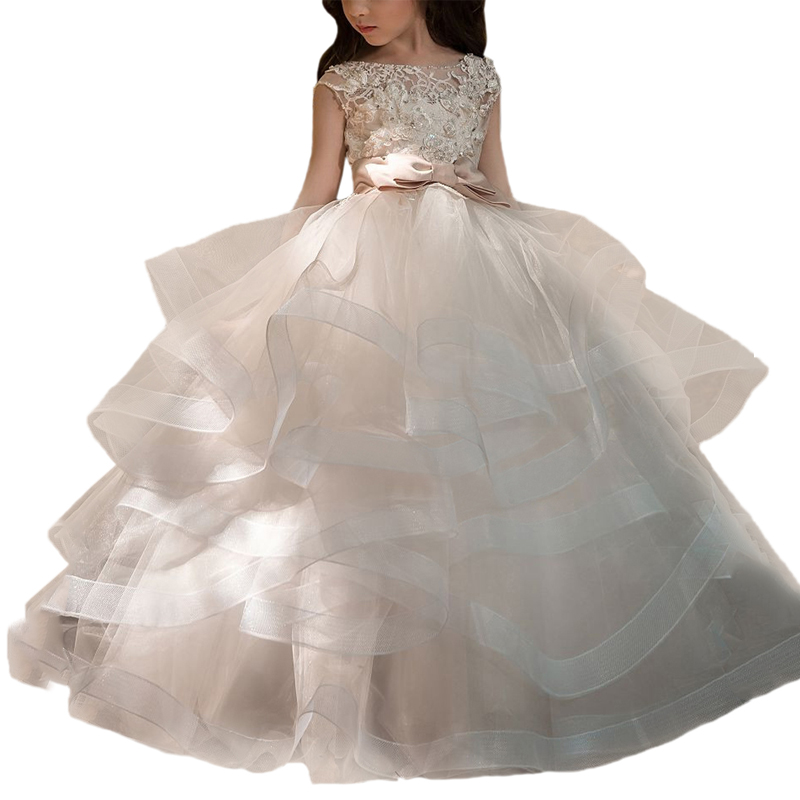 Fancy tulle dresses for girls sash long kids ball gowns vestido daminha nina little flower girls