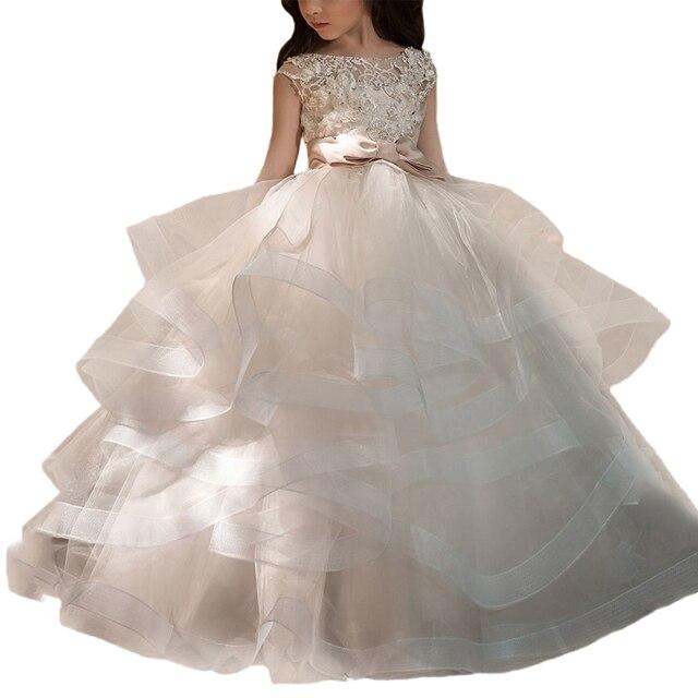 Fancy tulle dresses for girls sash long kids ball gowns vestido daminha nina  little flower girls party dresses d49856d73de3