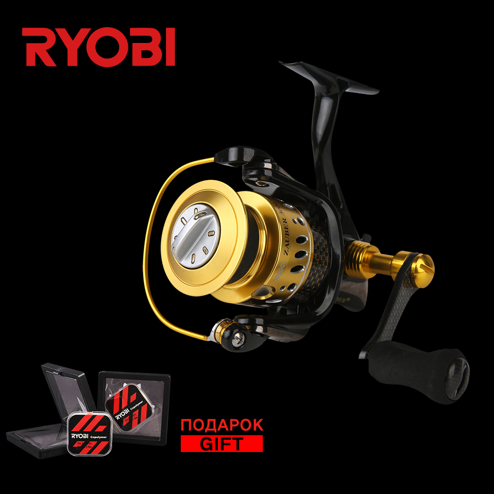 цена на RYOBI ZAUBER CF 2000 4000 Metal Body Wheel Carbon Handle Flat EVA Knob 10 Bearings Aluminium Spool Speed Spinning Fishing Reel