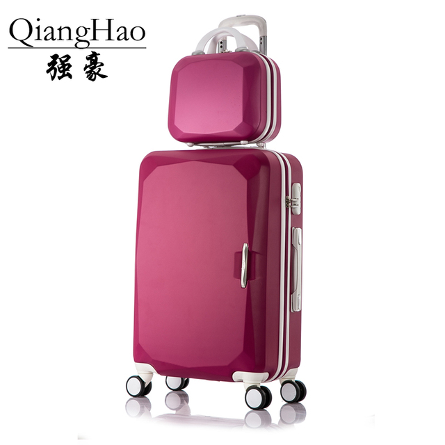 """14""""Cosmetic bag 2pcs/sets 8-color lovely kids travel suitcase with wheels ABS trolley case rolling pink luggage sets for girls"""