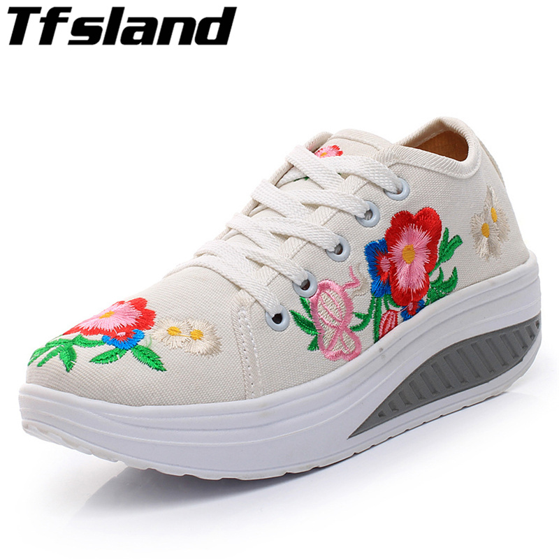 2018 Autumn Swing Shoes Women Embroidery Increased Platform Canvas Shoes Breathable Walking Shoes Sneakers De Moda Zapatos Mujer