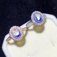 [MeiBaPJ Natural Moonstone Gemstone Trendy Ring for Women Real 925 Sterling Silver Charm Fine Jewelry 2 Colors