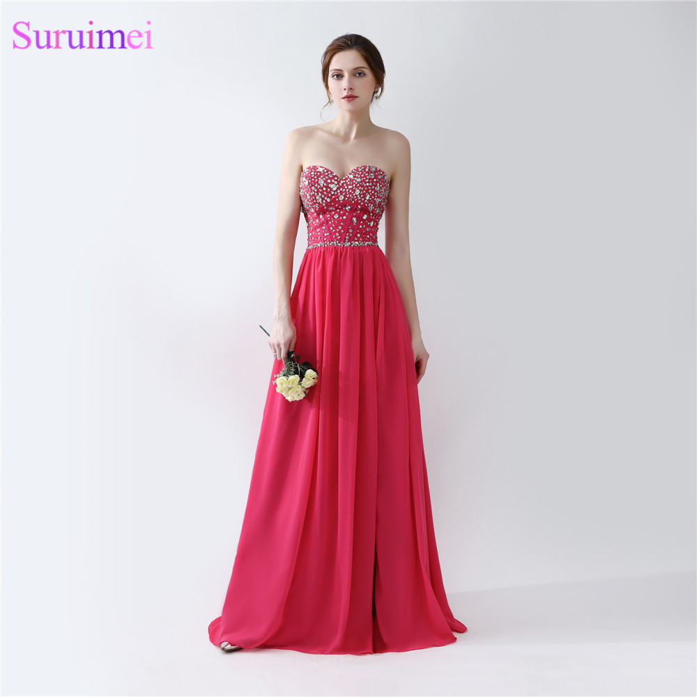 Rose Pink Evening Dresses Floor Length Beaded Semi Formal Side High