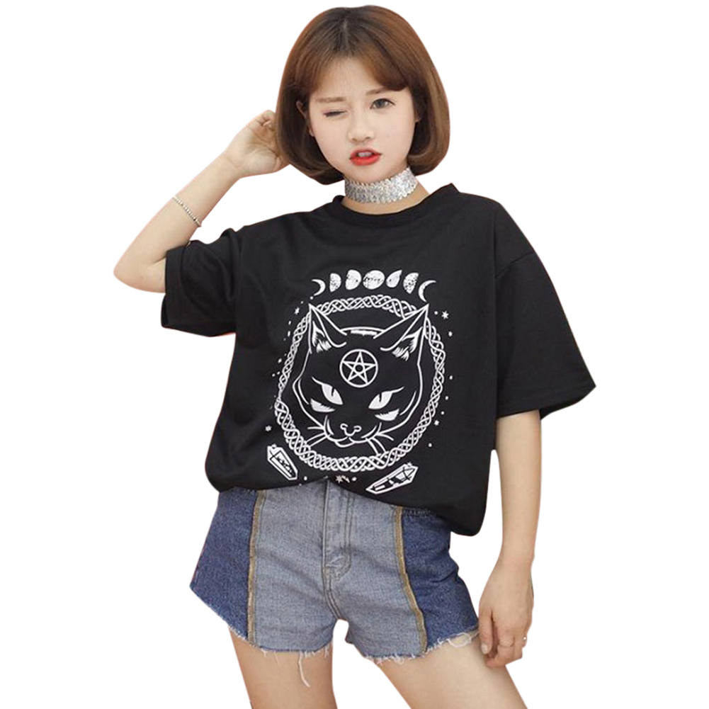 Gothic Moon Phase Witchcraft Cat Printed Female Harajuku T-Shirt Short Sleeve Women Tops Loose Summer T Shirt