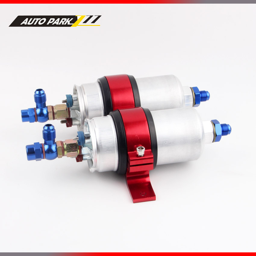 For dual fuel pump 0580 254 044 high flow pump with dual bracket 044 pump Gasoline external pump AN6 tansky high q external 044 dual fuel pump anodized billet aluminum fuel surge tank tk yx6012 2k044