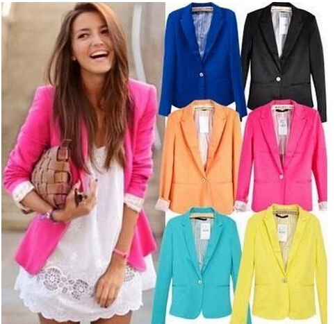 NEW 2017 spring autumn blazer women suit foldable brand jacket made of cotton & spandex Ladies refresh blazers Candy Color