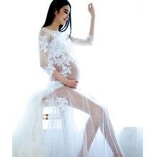 Pregnancy Elegant Fancy Gown White Lace Maternity Photography Props Royal Style Dresses Pregnant Women Photo  Dress Clothes
