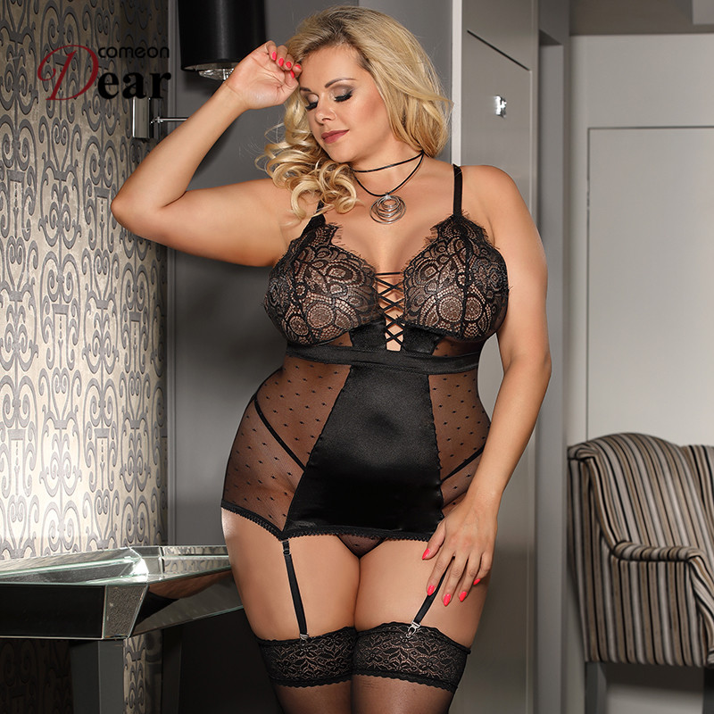 Comeondear Transparent Sex Lingerie Dress Plus Size Satin Lace Babydoll Mujer Sexy Outfit Erotic Backless Porno Costumes RJ80650