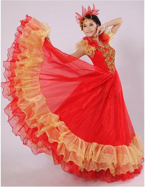 f9e1a4a57a9d27 € 32.92 21% de réduction|Corrida espagnole ventre 720 degrés danse robe  jupe longue robe Flamenco fille jupes camisa flamengo robes pour femmes ...
